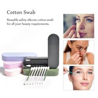 Lastswab 2pcs auriculares reutilizables de algodón hisopo de limpieza cosméticos silicona brotes hisopos Sticks encabezados por doble 6sets maquillaje Reciclaje Para Limpieza