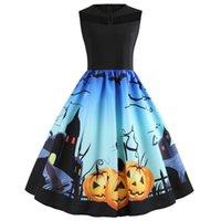 Femmes Halloween Mode chat imprimé 3D citrouille sans manches en dentelle vintage robe de soirée robe de soirée Halloween Costume Party