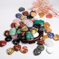Heiße hochwertige Liebe herzförmige Massageperlen Natürlicher Quarz Stein Nicht poröse DIY Schmuck machen Großhandel 30mm Freies Verschiffen