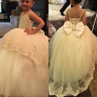 Vestido de baile vestidos da menina de flor para casamentos com rendas e lantejoulas grande arco primeiro vestidos de comunhão para meninas vestido de aniversário formal