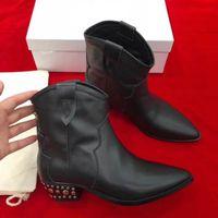 Kadınlar Gerçek Deri Isabel Dawyna Çivili Deri Bilek Boots Marant Siyah Kovboy Stil Deri Bilek Boots Sivri Burun