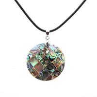 Personalità rotonda donne collane perla abalone conchiglia collana fatta a mano nera corda fascino collane in magazzino clovicella ciondoli gioielli
