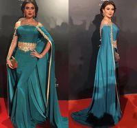 Sexy Encolure Robes de soirée longue avec perles de cristal d'Afrique formelle Robes de bal Robes Kaftan Celebrity