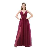 MB015 Correas espaguetis simples Entrecruzado Espalda Vestidos de noche borgoña Vestidos de noche elegantes y plisados largos Vestido de fiesta 2019