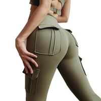 AprilGrass alta Leggings cintura com bolsos treino de ginásio Legging Scrunch Bundas ioga calça esporte Mulheres da aptidão Leggings Flex Booty Sweatpants