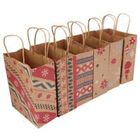 Presente doces do Natal saco de papel Xmas Tree Geometric Prints bolsas de lona Designs Mix Package Bolsas Fit Party Supplies Eco-friendly 1 06bm E1