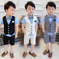 Kinder Sommer Sets Jungen V-Ausschnitt Einzige Breasted Weste Outwear + Doppeltasche Hälfte Shorts 2 stücke Kinder Leistung Outfits F6614