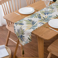 country leaf design table runner jacquard fabric runners wedding party cloth hotel supplies modern home decoration