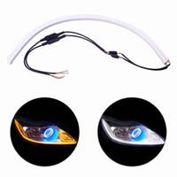 2PC / لوط 30CM 45CM 60CM DRL LED مرنة أنبوب قطاع تشغيل أضواء النهار تشغيل السيارة الإشارة عيون الملاك التصميم الابيض / الاصفر