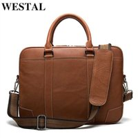 Leather WESTAL Men's Briefcase Porte Bag Men For Office Bags Business Document Laptop Handbag Genuine Ulcuf