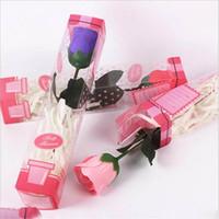 Artículos de regalo de cumpleaños caja de PVC creativo Jabón color de rosa hecha a mano de la boda de Rose del día de San Valentín Navidad rosa pétalo de la flor de papel jabón XD23120