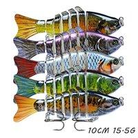 5pcs / lot Mehrteilige Fisch harte Köder-Köder 15 Farbe Mixed 10CM 15.5g 6 # Haken Angelhaken Pesca Angelgerät Zubehör WA_59