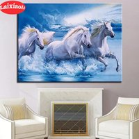 full square diamond painting white horses pictures for embro...