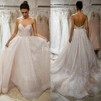 Glitter Sweetheart Wedding Dresses Sleeveless Backless A- Lin...