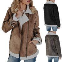 Moda Inverno Mulheres Suede couro Moto motociclista bolsos do casaco jaqueta de vôo Zip Up Grosso Outwear Tops Roupa Plus Size S-2XL