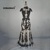 Doragrace Actual Images Schwarz Applique Spitze Abendkleider Meerjungfrau Abendkleider Backless Evening Party Dress Long
