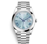 Daydate New Herrenuhr Präsident Automatikuhren Herren Silberarmband Blaues Zifferblatt Kronenverschluss Uhren Herren Party Designer Uhren Day Date 41mm