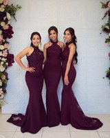 Sexy Grape Mermiad Dama de honra Vestidos barato Longo High Neck Decote Wedding Girl Negro Menina Prom Noite Vestidos de Partido BD9044