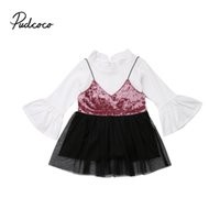 8d0a22669ad New Arrival. Princess Fashion Toddler Kids Baby Girl Flare Sleeve Kniting  T-Shirt Tops Velvet Tulle Tutu Braces Skirt Wedding Party Dresses