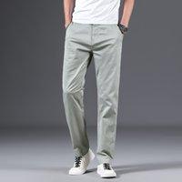 calças soltas VROKINO 2020New primavera / verão calças masculinas casuais fina de algodão moda de alta qualidade cor sólida homens de