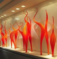 En Kaliteli El Lambaları Reed Zemin Lambası Turuncu Murano Modern Dekor Parti Bahçe için 100% Ağız Üflemeli Cam Heykel
