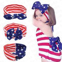 Filles Bandeau Drapeau américain Lapin Oreille Band Cheveux Jour de l'Indépendance nationale Jour Striped Star Baby noueuse Bandeau Accessoires cheveux D52704