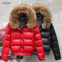 FTLZZ hiver Real Raccoon Fur Down Veste Down Femmes Capuche Slim Blanc Duck Down Parkas Manteau Femme Black Kaki Snow Outwear