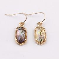 Fashion Trend Jewelry Kendra Spring Summber Designer Ispirato Abalone Shell con perle sfaccettate in perline di pietra Piccolo carino ovale Orecchini pendenti