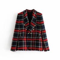 Mode Vintage Frauen Patchwork-Plaid-Tweed-Druck-Revers-Jacke mit zweireihiger Tasche Langarm-weiblicher Mantel