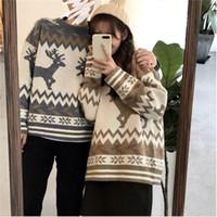 Mujeres suéter de invierno hombres cálidos gruesos moda retro patrón o-cuello de manga larga jersey de punto hombre casual pareja suelta ropa moda