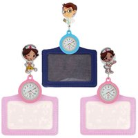 moda 2 em 1 mulheres homens senhoras médico enfermeira 3D desenhos animados relógios linda bolso com o emblema do carretel cartões conhecidos titular dom relógios retrátil
