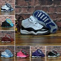 2019 Çocuklar 11 11 s Uzay Reçel Bred Concord Salonu Kırmızı Basketbol Ayakkabıları Çocuk Boy Kız Beyaz Pembe Midnight Donanma spor Sneakers Toddlers 28-35