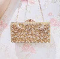 موضة جديدة الذهبي المرأة الزفاف الكتف مخلب حقيبة حجر الراين سلسلة مساء حقيبة يد محفظة