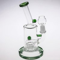 18cm Glass Bong Pink Green Blue Oil Rigs Glass Bongs With Pe...