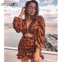 Casual Dresses Ashgaily 2021 Sexy Kleid Frauen Leopard Puff Sleeve Mesh Femme Party Slim Mini V-Ausschnitt Mode Sommer Kleidung