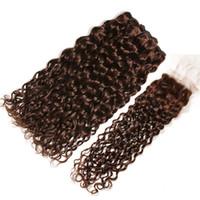 Nasse und Wellenförmige Schokolade Brown brasilianische Menschenhaar-Webart Bundles mit Closure Dark Brown Water Wave 3Bundles mit 4x4-Spitze-Schliessen 4Pcs Lot