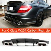 C63 Стиль Реальный углеродный Волокно Автомобиль Задний Бампер Спойлер для губ для Benz C Class W204 AMG Вырез / Blade 2012-2014