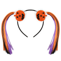 Девочка оголовье Хэллоуин Смешные тыквы Группа волос с парик Фиолетовый Оранжевый хвостик Бутик Cosplay волос Палочки Аксессуары