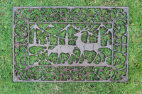 Cast Iron Doormat Rectangle Elk Scrolled Door Mat Antique Fi...
