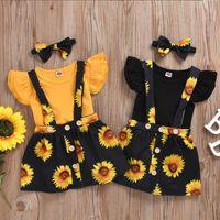 Bebê Designer roupa menina Ruffle luva Romper girassol saia com alça 3pcs Sets Criança Suspender Skirt Suits Verão bebê Outfits DW5330