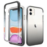 Caso da tampa Gradiente de cor duas camadas para Apple Iphone 11 Pro X XS XR MAX para Samsung Galaxy S20 Plus Ultra S10 Além disso Phone Limpar Casos 200pcs