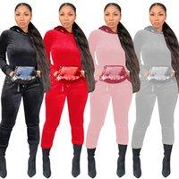 Kış Kadın Tasarımcı Eşofman Moda Panelli Sequins İki Parça Pantolon Düz Renk Kapüşonlu İki Parça Setleri