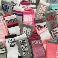 Middle Long Women Sock Stripey vs love Stocking Pink colorfu...