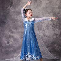 Baby-Mädchen-Prinzessin-Kleid-Halloween-Partei Cosplay Mädchen Pailletten Elegante Schneekönigin 2-Kleid mit abnehmbarem Umhang M1663 Dressed