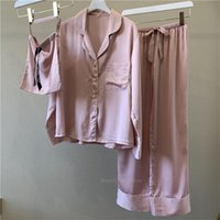 2020 여름 여성 홈 잠옷 의류 긴 소매 새틴 실크 솔리드 3PCS 캐주얼 잠옷 섹시한 잠옷 의류 바지 세트
