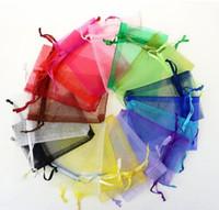 7 * 9 cm Schmuck Taschen gemischt Organza Schmuck Hochzeitsfeier Favor Weihnachten Geschenk Taschen Lila Blau Rosa Gelb Schwarz Mit Kordelzug GB1505