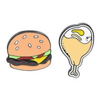 Творческая Еда Значок Мультфильм Бургер Куриная Нога Форма Брошь Металлический Значок Высокое Качество Значок Одежда Аксессуары