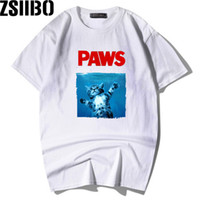 ZSIIBO Marka mektup PAWS Kısa Kollu T-shirt Bireysel Moda erkekler genişletilmiş t gömlek hip hop tişörtlerin kadınlar MC89