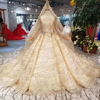 Luxury Golden Evening Dresses With Long Lace Veil Long Sleev...