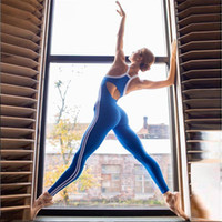 GXQIL Dry Fit Sport Frau Yoga-Gymnastik Bekleidung 2019 Streifen Sport Overall Breath Trainings-Kleidung für Frauen Blau Schwarz S L